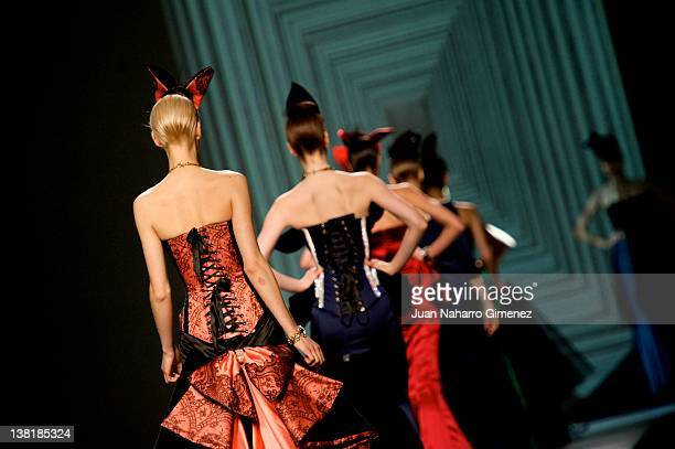 Models walk the runway in the Maya Hansen fashion show during Mercedes-Benz Fashion Week Madrid Autumn/Winter 2012 at Ifema on February 4, 2012 in...