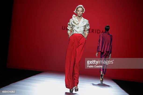 Models walk the runway in the Ulises Merida fashion show during Mercedes Benz Fashion Week Madrid Spring/Summer 2015 at Ifema on September 14 2014 in...