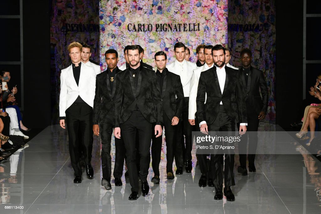 Models walk the runway of the Carlo Pignatelli Haute Couture fashion show on May 20, 2017 in Milan, Italy.