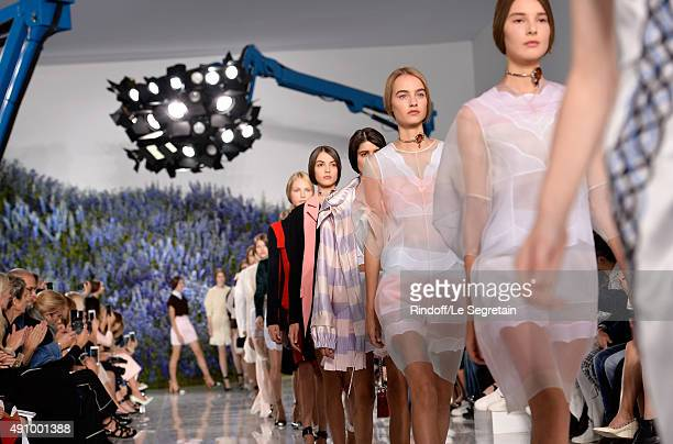 Models walk the runway of the Christian Dior show as part of the Paris Fashion Week Womenswear Spring/Summer 2016 at Cour Carree du Louvre on October...
