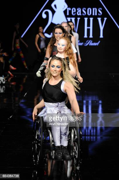 Models walk the runway wearing 21 Reasons Why by Madeline Stuart at Art Hearts Fashion LAFW Fall/Winter 2017 - Day 3 at The Beverly Hilton Hotel on...