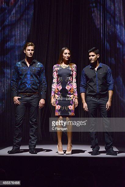 Models walk the runway wearing a piece from the INC international Concepts collection at the 2014 Macy's Passport Glamorama Fashion Rocks show at The...
