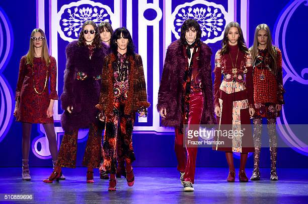 Models walk the runway wearing Anna Sui Fall 2016 during New York Fashion Week The Shows at The Arc Skylight at Moynihan Station on February 17 2016...