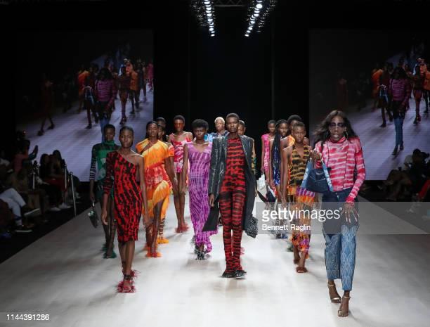 Models walk the runway wearing Asi during Arise Fashion Week on April 21, 2019 in Lagos, Nigeria.