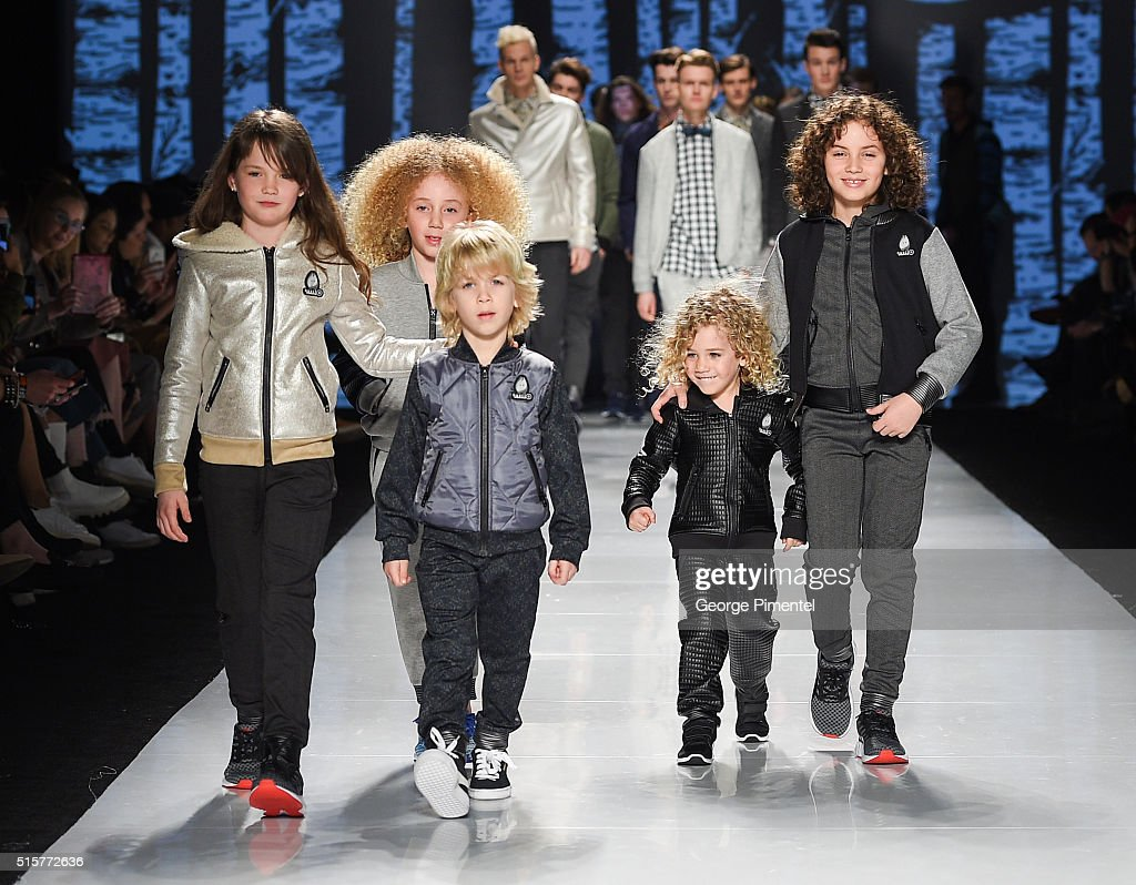 Models walk the runway wearing Bustle 2016 collection during Toronto Fashion Week Fall 2016 at David Pecaut Square on March 15, 2016 in Toronto, Canada.