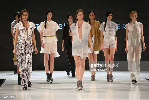 Models walk the runway wearing Cynthia Buttenklepper during the first day of Google Fashion Mexico at Estudios Churubusco on September 25 2012 in...