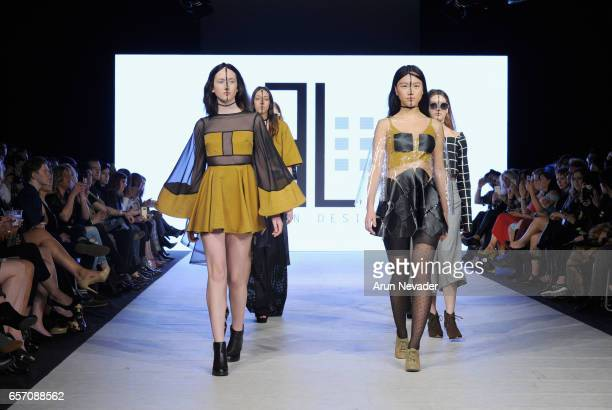 Models walk the runway wearing Elennon Designs at Vancouver Fashion Week Fall/Winter 2017 at Chinese Cultural Centre of Greater Vancouver on March...