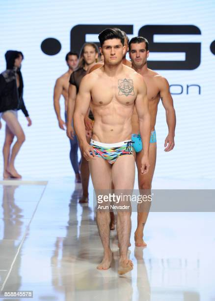 Models walk the runway wearing ES Collection at Los Angeles Fashion Week SS18 Art Hearts Fashion LAFW on October 7 2017 in Los Angeles California