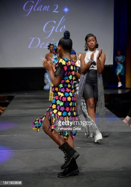 Models walk the runway wearing Glam2Glo Designz at NYFW hiTechMODA Season 6 at The Edison Ballroom on September 12, 2021 in New York City.