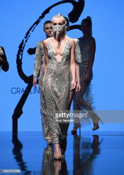 Models walk the runway wearing Grayling Purnell at Los Angeles Fashion Week Powered by Art Hearts Fashion LAFW SS/19 at The Majestic Downtown on...