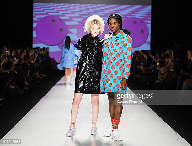 Models walk the runway wearing Hayley Elsaesser 2016 collection during Toronto Fashion Week Fall 2016 at David Pecaut Square on March 17 2016 in...