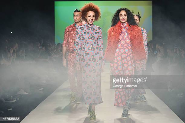 Models walk the runway wearing Hayley Elsaesser fall 2015 collection during World MasterCard Fashion Week Fall 2015 at David Pecaut Square on March...