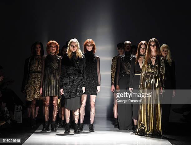 Models walk the runway wearing Helder Diego 2016 collection during Toronto Fashion Week Fall 2016 at David Pecaut Square on March 16 2016 in Toronto...
