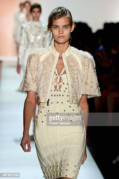 81d922ef5366 Models walk the runway wearing Herve Leger by Max Azria Spring 2016 during New  York Fashion
