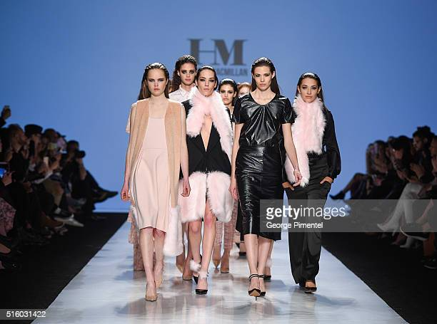 Models walk the runway wearing Hilary Macmillan 2016 collection during Toronto Fashion Week Fall 2016 at David Pecaut Square on March 16 2016 in...
