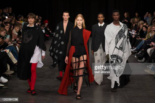 Models walk the runway wearing Ishara Jayathilake of Oslo National Academy of the Arts at the Designers Nest showcase with fashion graduates from the...