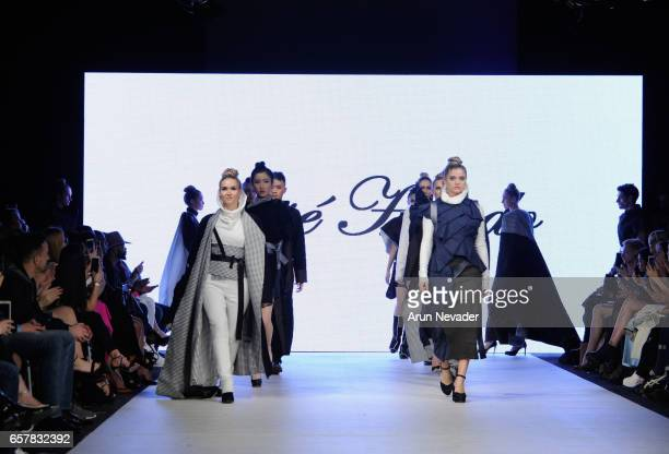 Models walk the runway wearing Jose Hendo at Vancouver Fashion Week Fall/Winter 2017 at Chinese Cultural Centre of Greater Vancouver on March 25,...