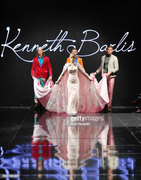 Models walk the runway wearing Kenneth Barlis at Art Hearts Fashion LAFW Fall/Winter 2017 Day 1 at The Beverly Hilton Hotel on March 14 2017 in...