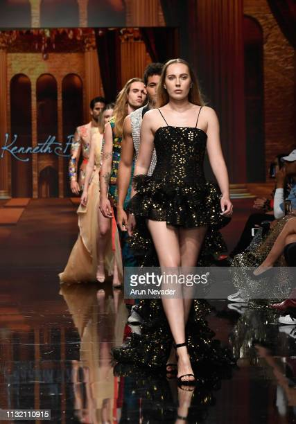 Models walk the runway wearing Kenneth Barlis at Los Angeles Fashion Week FW/19 Powered by Art Hearts Fashion at The Majestic Downtown on March 22...