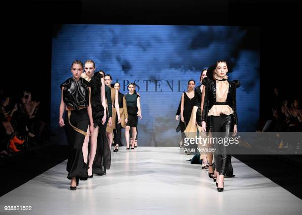 Models walk the runway wearing Kirsten Ley at 2018 Vancouver Fashion Week Day 6 on March 24 2018 in Vancouver Canada