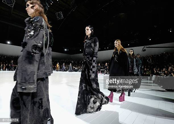 Models walk the runway wearing Marc Jacobs Fall 2016 during New York Fashion Week at Park Avenue Armory on February 18 2016 in New York City