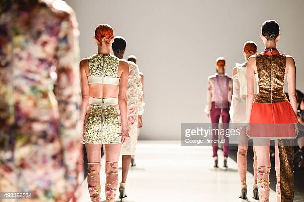 Models walk the runway wearing Mikhael Kale spring 2016 collection at David Pecaut Square on October 19 2015 in Toronto Canada