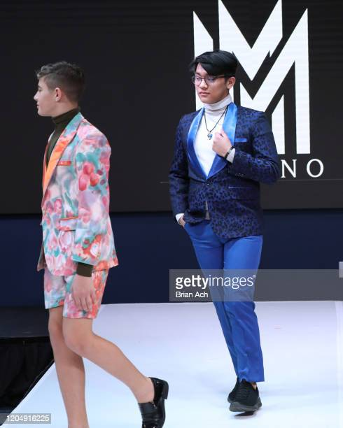 Models walk the runway wearing MM Milano Couture during NYFW Powered By hiTechMODA on February 08 2020 in New York City