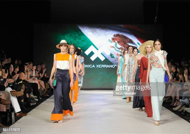 Models walk the runway wearing Monica Xerrano at 2017 Vancouver Fashion Week Day 4 on September 21 2017 in Vancouver Canada