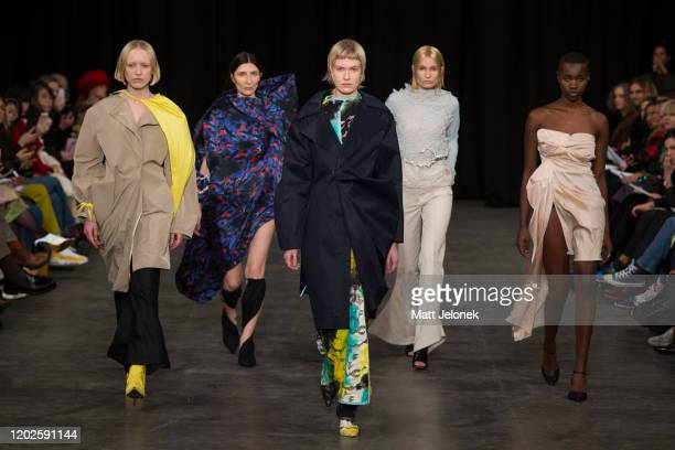 Models walk the runway wearing Oliver Oppermann of The Royal Danish Academy of Fine Arts at the Designers Nest showcase with fashion graduates from...