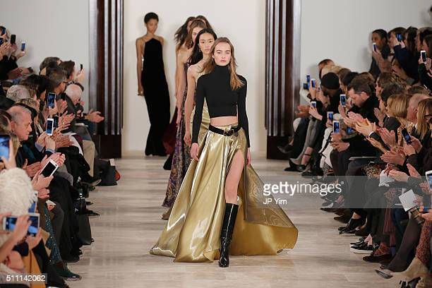 Models walk the runway wearing Ralph Lauren Fall 2016 during New York Fashion Week The Shows at Skylight Clarkson Sq on February 18 2016 in New York...