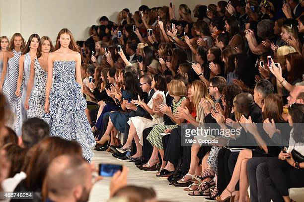Models walk the runway wearing Ralph Lauren Spring 2016 during New York Fashion Week The Shows at Skylight Clarkson Sq on September 17 2015 in New...