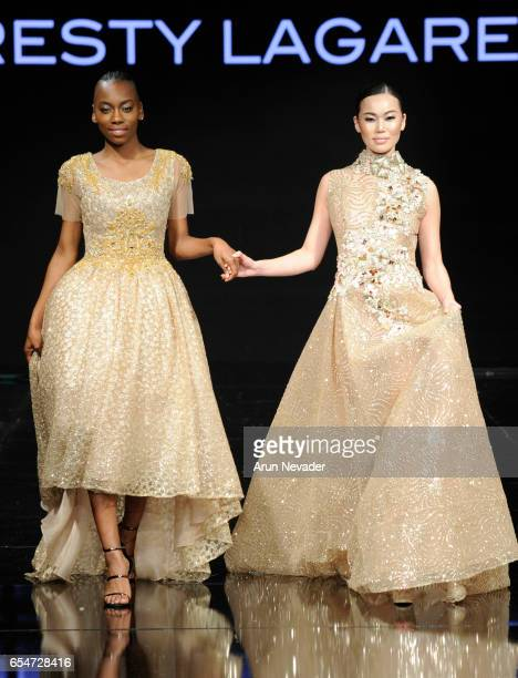 Models walk the runway wearing Resty Lagare at Art Hearts Fashion LAFW Fall/Winter 2017 Day 4 at The Beverly Hilton Hotel on March 17 2017 in Beverly...