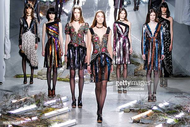 Models walk the runway wearing Rodarte Fall 2015 during Mercedes-Benz Fashion Week at Center 548 on February 17, 2015 in New York City.