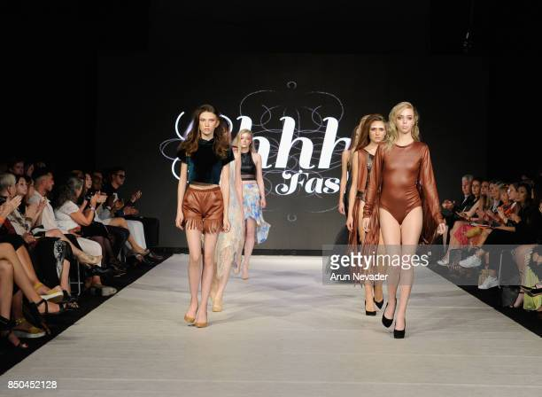 Models walk the runway wearing Shhh Fashions at 2017 Vancouver Fashion Week Day 3 on September 20 2017 in Vancouver Canada