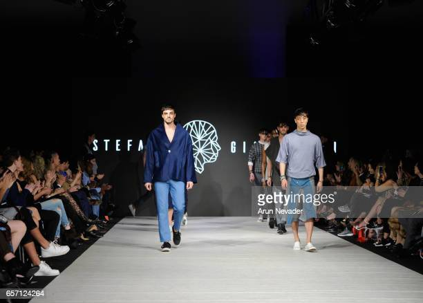 Models walk the runway wearing Stefano Giammattei at Vancouver Fashion Week Fall/Winter 2017 at Chinese Cultural Centre of Greater Vancouver on March...
