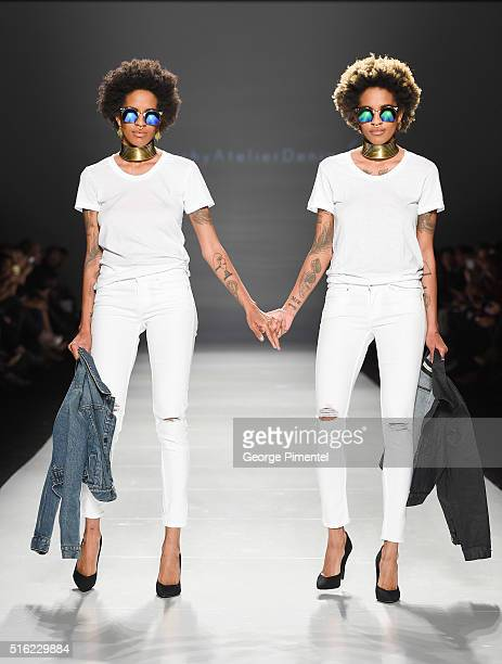 Models walk the runway wearing Triarchy 2016 collection during Toronto Fashion Week Fall 2016 at David Pecaut Square on March 17 2016 in Toronto...