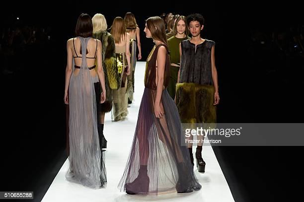 Models walk the runway wearing Vera Wang Collection Fall 2016 during New York Fashion Week The Shows at The Arc Skylight at Moynihan Station on...