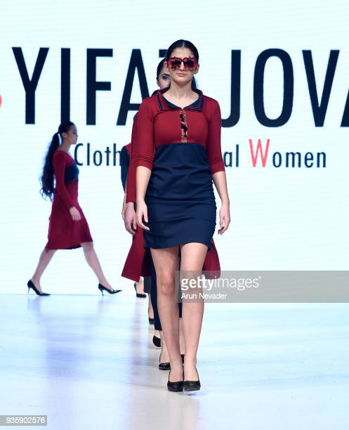 Models walk the runway wearing Yifat Jovani at 2018 Vancouver Fashion Week Day 2 on March 20 2018 in Vancouver Canada