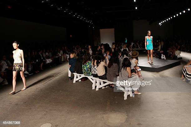 Models walk the runway with NYX Cosmetics at the Tracy Reese fashion show during MercedesBenz Fashion Week Spring 2015 at ArtBeam on September 7 2014...