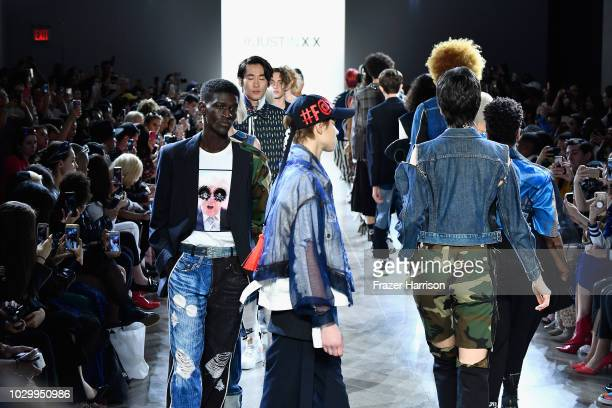 Models walk the runways at the Just In XX show during New York Fashion Week The Shows at Gallery II at Spring Studios on September 9 2018 in New York...