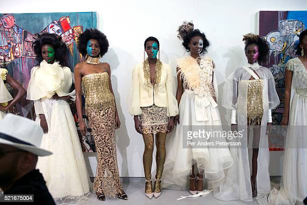 Models walking for the designer David Tlale during a show on August 1 2015 at Gallery MOMO in Cape Town South Africa David Tlale is one of South...