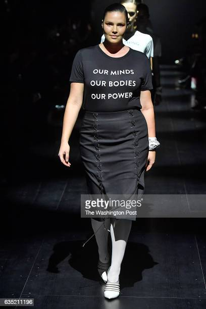 Models walking in the finale of the Prabal Gurung Fall/Winter 2017 collection wore Tshirts with feminist messages