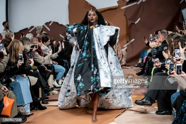 Models walking the final walk on the runway at the Selam Fessahaye show during the Copenhagen Fashion Week Autumn/Winter 2020 on January 28, 2020 in...