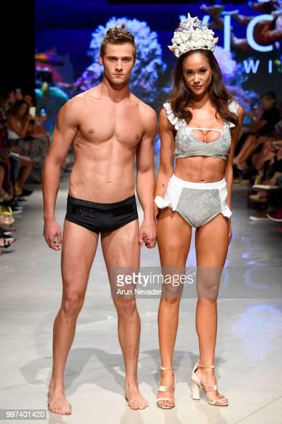 Models walkl the runway for Vichi Swim at Miami Swim Week powered by Art Hearts Fashion Swim/Resort 2018/19 at Faena Forum on July 12 2018 in Miami...