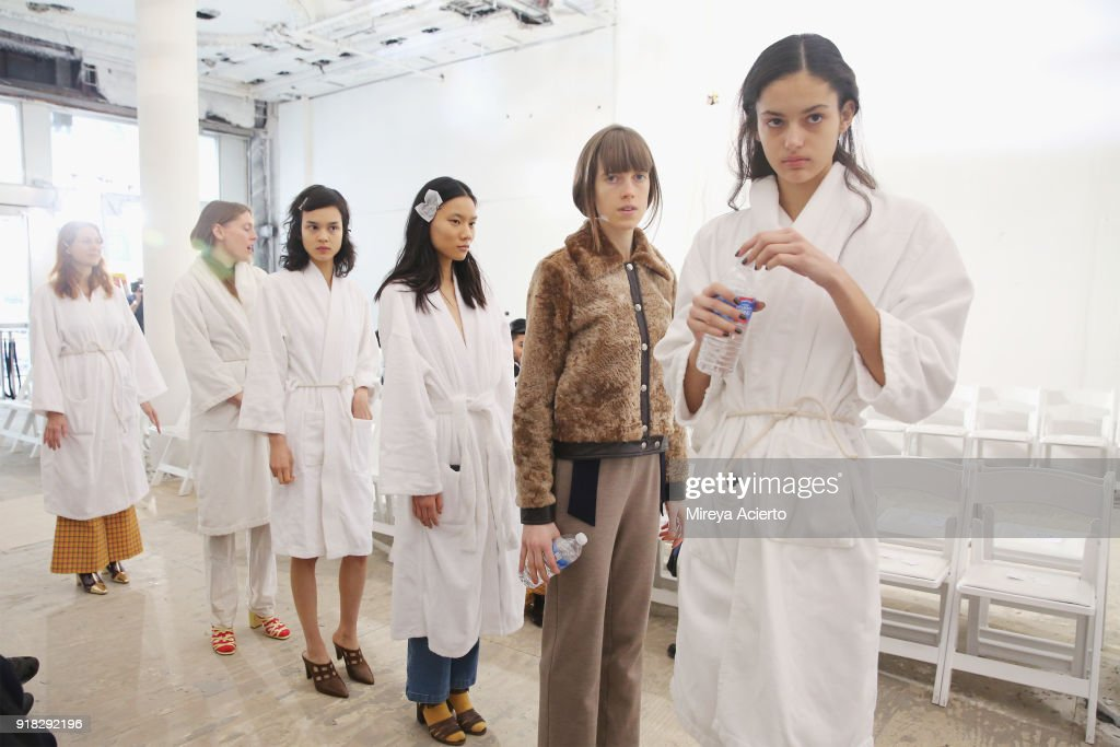 Models walks at rehearsal before the Maryam Nassir Zadeh fashion show during New York Fashion Week on February 14, 2018 in New York City.