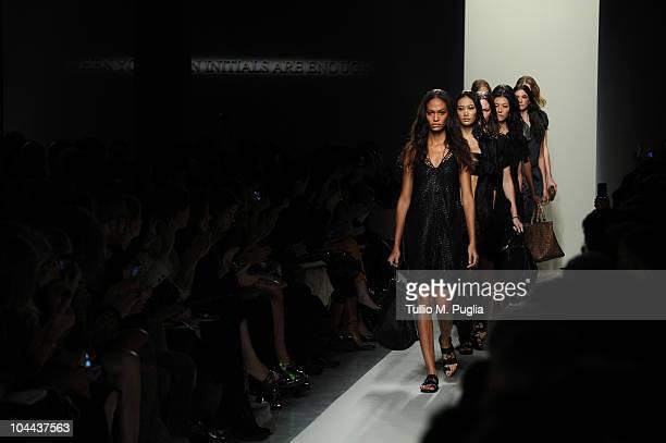Models walks down the runway during the Bottega Veneta Womenswear Spring/Summer 2011 fashion show during Milan Fashion Week on September 25, 2010 in...