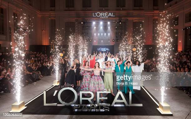 Models walks for L'Oreal fashion show during the Mercedes Benz Fashion Week Autumn/Winter 2020-21 at Cibeles Palace on January 31, 2020 in Madrid,...