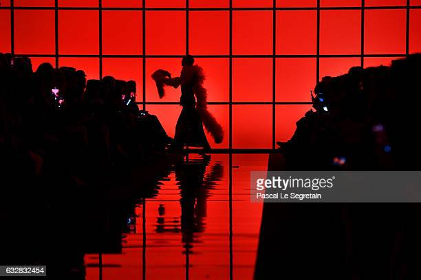 A models walks off the runway during the Giorgio Armani Prive Spring Summer 2017 show as part of Paris Fashion Week on January 24 2017 in Paris France