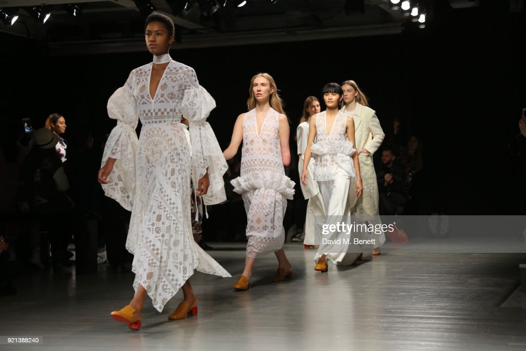 A models walks the catwalk at the Teatum Jones show during London Fashion Week February 2018 at BFC Show Space on February 20, 2018 in London, England.
