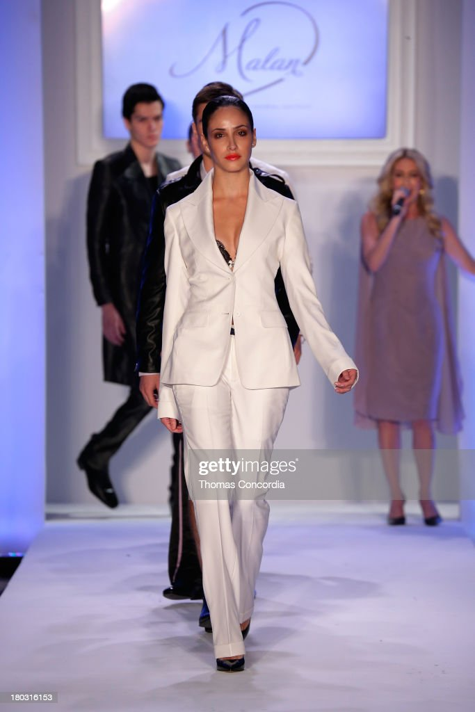 Models walks the runway at Malan By Malan Breton Sponsored by Fancy Feast Gourmet Cat Food at the STYLE360 Fashion Pavilion in Chelsea on September 11, 2013 in New York City.